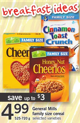 General Mills Family Size Cereal - 525-720 g