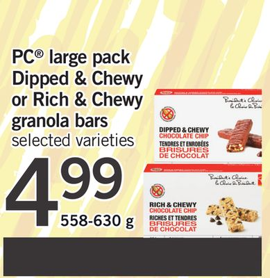 PC Large Pack Dipped & Chewy Or Rich & Chewy Granola Bars - 558-630 g