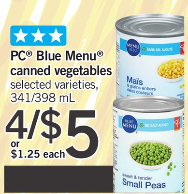 PC Blue Menu Canned Vegetables - 341/398 mL