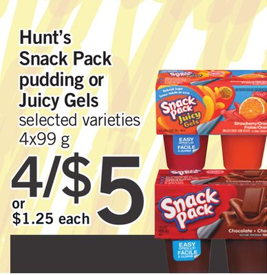 Hunt's Snack Pack Pudding Or Juicy Gels - 4x99 g