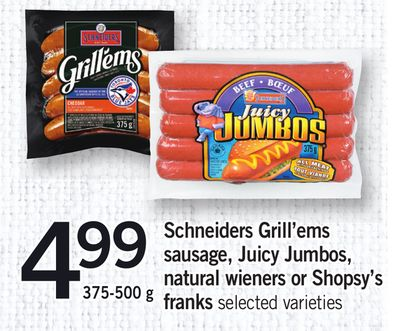 Schneiders Grill'ems Sausage - Juicy Jumbos - Natural Wieners Or Shopsy's Franks - 375-500 g