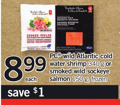 PC Wild Atlantic Cold Water Shrimp - 340 G Or Smoked Wild Sockeye Salmon - 150 G