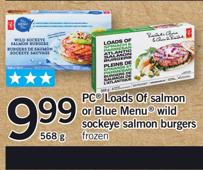 PC Loads Of Salmon Or Blue Menu Wild Sockeye Salmon Burgers - 568 g