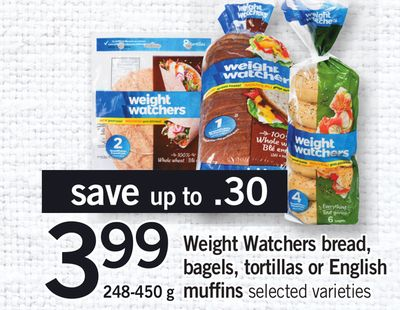 Weight Watchers Bread - Bagels - Tortillas Or English Muffins - 248-450 g