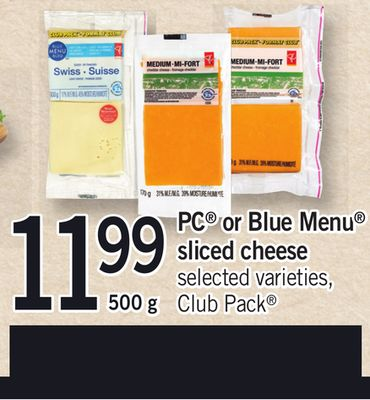 PC Or Blue Menu Sliced Cheese - Club Pack - 500 g