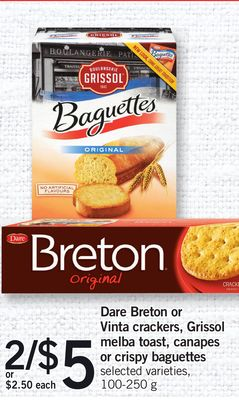 Dare Breton Or Vinta Crackers - Grissol Melba Toast - Canapes Or Crispy Baguettes - 100-250 g