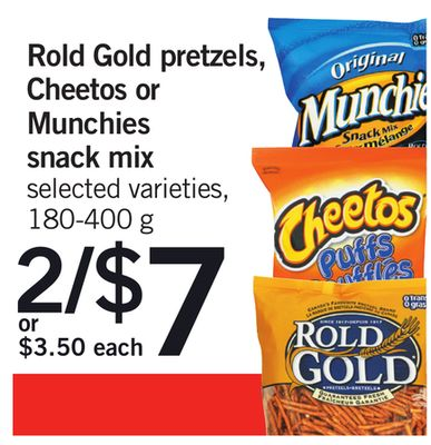 Rold Gold Pretzels - Cheetos Or Munchies Snack Mix - 180-400 g