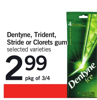 Dentyne - Trident - Stride Or Clorets GUM - Pkg of 3/4