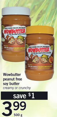 Wowbutter Peanut Free Soy Butter - 500 G