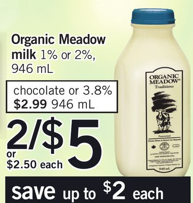 Organic Meadow Milk - 1% Or 2% - 946 Ml