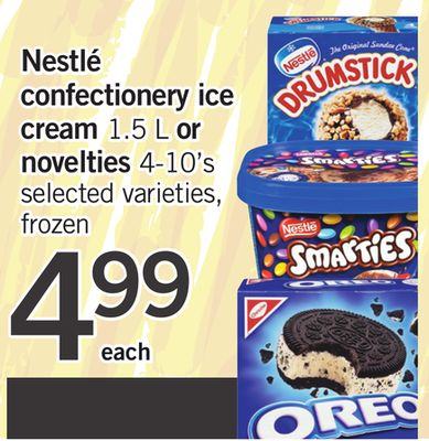 Nestlé Confectionery Ice Cream 1.5 L Or Novelties 4-10's