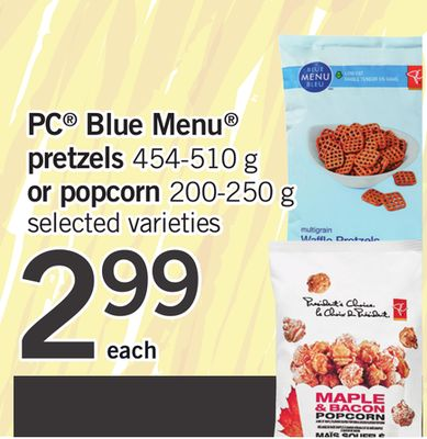 PC Blue Menu Pretzels - 454-510 G Or Popcorn - 200-250 G