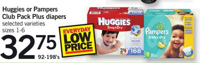 Huggies Or Pampers Club Pack Plus Diapers - 92-198's