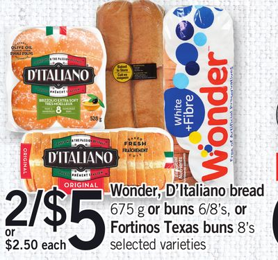 Wonder - D'italiano Bread - 675 G Or Buns - 6/8's - Or Fortinos Texas Buns - 8's