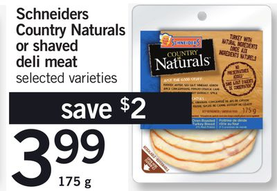 Schneiders Country Naturals Or Shaved Deli Meat - 175 g