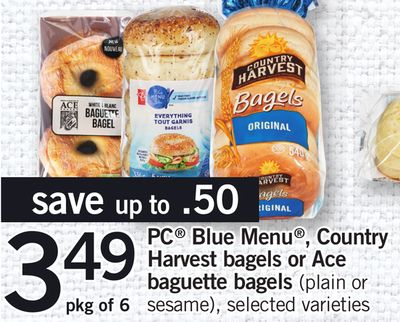 PC Blue Menu - Country Harvest Bagels Or Ace Baguette Bagels - Pkg of 6