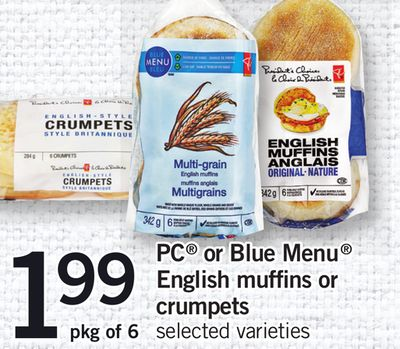 PC Or Blue Menu English Muffins Or Crumpets - Pkg of 6