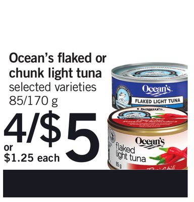 Ocean's Flaked Or Chunk Light Tuna - 85/170 g