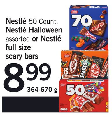 Nestlé - 50 Count - Nestlé Halloween Assorted Or Nestlé Full Size Scary Bars - 364-670 g