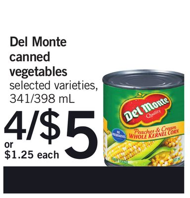 Del Monte Canned Vegetables - 341/398 mL