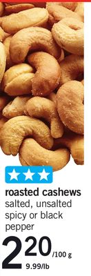 Roasted Cashews - 9.99/lb