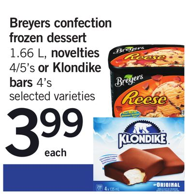 Breyers Confection Frozen Dessert 1.66 L - Novelties 4/5's Or Klondike Bars 4's