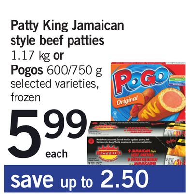 Patty King Jamaican Style Beef Patties 1.17 Kg Or Pogos 600/750 G