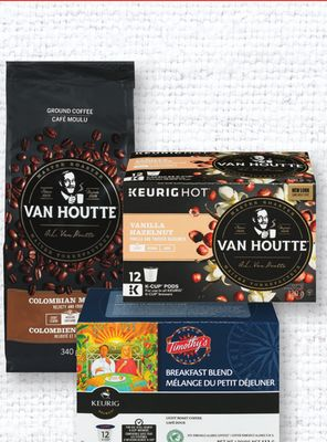 Timothy's - Van Houtte - Tully's - Donut House K-cups 6/12's Or Van Houtte Ground Coffee 340 G