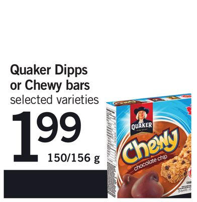 Quaker Dipps Or Chewy Bars - 150/156 g