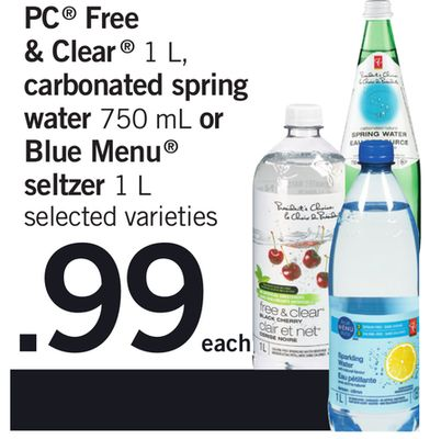 PC Free & Clear 1 L - Carbonated Spring Water 750 Ml Or Blue Menu Seltzer 1 L