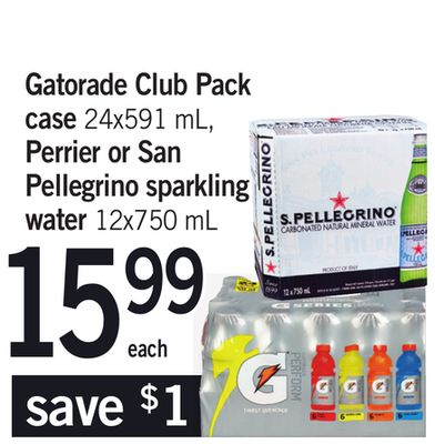 Gatorade Club Pack Case - 24x591 Ml - Perrier Or San Pellegrino Sparkling Water - 12x750 Ml