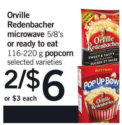 Orville Redenbacher Microwave - 5/8's Or Ready To Eat - 116-220 G Popcorn