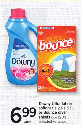 Downy Ultra Fabric Softener 1.23-1.53 L Or Bounce Dryer Sheets 66-120's