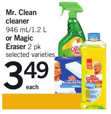 Mr. Clean Cleaner 946 Ml/1.2 L Or Magic Eraser 2 Pk