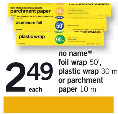 No Name Foil Wrap 50' - Plastic Wrap 30 M Or Parchment Paper 10 M