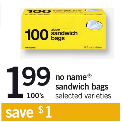 No Name Sandwich Bags - 100's