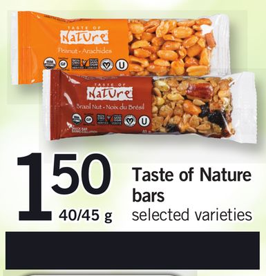 Taste Of Nature Bars - 40/45 g
