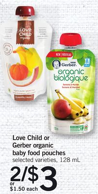 Love Child Or Gerber Organic Baby Food Pouches - 128 mL