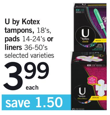 U By Kotex Tampons - 18's - Pads - 14-24's Or Liners - 36-50's