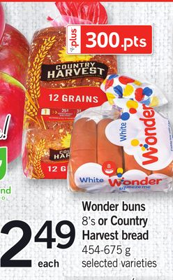 Wonder Buns - 8's Or Country Harvest Bread - 454-675 g
