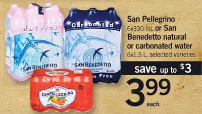 San Pellegrino - 6x330 Ml Or San Benedetto Natural Or Carbonated Water - 6x1.5 L