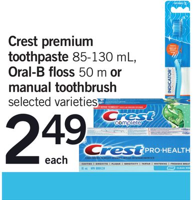 Crest Premium Toothpaste 85-130 Ml - Oral-b Floss 50 M Or Manual Toothbrush