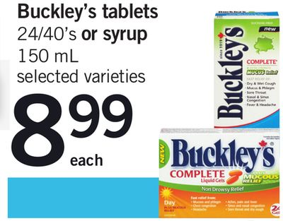 Buckley's Tablets - 24/40's Or Syrup - 150 Ml