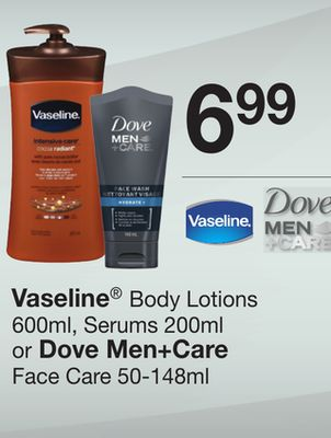 Vaseline Body Lotions - 600ml - Serums - 200ml Or Dove Men+care Face Care - 50-148ml