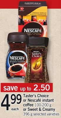 Taster's Choice Or Nescafé Instant Coffee 100-200 G Or Sweet & Creamy 396 G