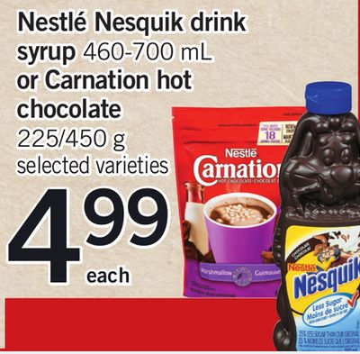 Nestlé Nesquik Drink Syrup 460-700 Ml Or Carnation Hot Chocolate - 225/450 g