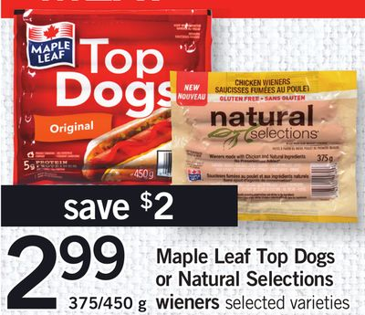 Maple Leaf Top Dogs Or Natural Selections Wieners - 375/450 g