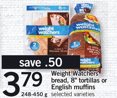 Weight Watchers Bread - 8'' Tortillas Or English Muffins - 248-450 g