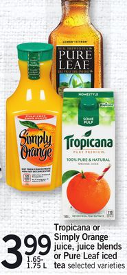 Tropicana Or Simply Orange Juice - Juice Blends Or Pure Leaf Iced Tea - 1.65- 1.75 L