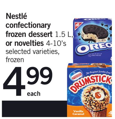 Nestlé Confectionary Frozen Dessert 1.5 L - Or Novelties 4-10's